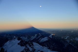 Moon Over The Shadow of Aconcagua And Cerro de los Horcones, Cerro Cuerno, Cerro Piloto, Alma Blanca From Between Colera Camp 3 And Independencia On The Climb To Aconcagua Summit