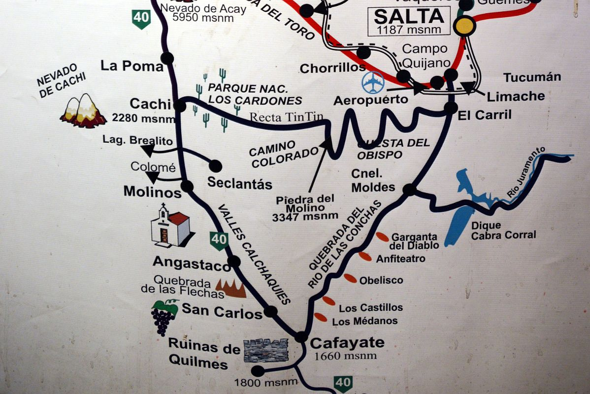 Map Showing The Road Through Quebrada De Cafayate From Salta - Argentina map salta
