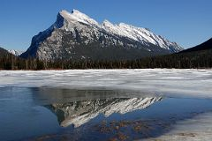 Mount Rundle Is Reflected In Frozen Vermillion Lake In Late Afternoon In Winter