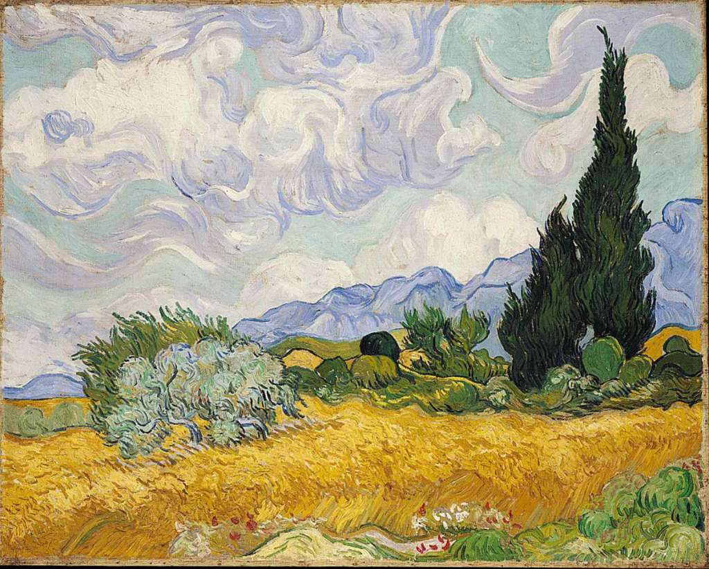 A Wheatfield with Cypresses (1889)