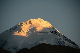 Gasherbrum I Hidden Peak North Face Close Up At Sunset From Gasherbrum North Base Camp In China