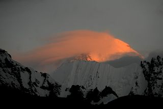 K2 East Face Close Up At Sunrise Sunset From Gasherbrum North Base Camp In China