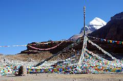 The prayer-flag festooned Tarboche (4750m, 08:27) Pole is replaced each year at the major festival of Saga Dawa, marking the enlightenment of Shakyamuni Buddha. If the pole stands absolutely vertical all is well, but if it leans towards Kailash things are not good, if it leans away, things are even worse. Although we started our trek from Darchen, you can drive here too.