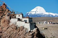 Mount Kailash close up with Chiu Gompa.