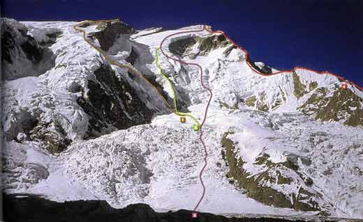 Annapurna North Face climbing routes: 1. Spanish route to the east summit 1974, 2. Dutch route 1977, 3. French route of first ascent 1950, 4. Polish route 1996 - 8000 Metri Di Vita, 8000 Metres To Live For book