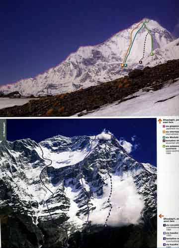 Top:Dhaulagiri East Face With Climbing Routes: 1. Japanese route 1978. 2. International route 1980, 3. Wielicki route 1990, 4. Slovenian attempt 1986, 5. Swiss-Austrian first ascent route 1960. Bottom Dhaulagiri West Face With Climbing Routes: 1. Czechoslovak route 1984, 2. Kazakh route 1990, 3. Czechoslovak attempt 1985, 4 Kazakh route 1991. - 8000 Metri Di Vita, 8000 Metres To Live For book