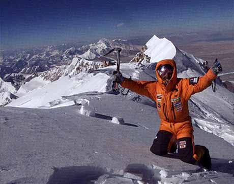 Simone Moro and Polish climber Piotr Morawski completed the first Winter ascent of Shishapangma via the south face on January 14, 2005. Here is Moro on the Shishapangma summit. - 8000 Metri Di Vita, 8000 Metres To Live For book