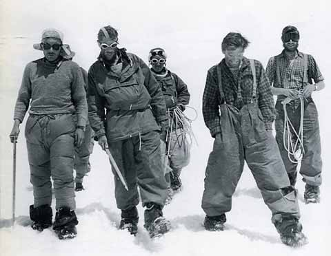 The two 1953 Mount Everest assault parties back together at base camp. From left to right are Charles Evans, Edmund Hillary and Tenzing Norgay still roped together, Tom Bourdillon, and George Band. - Alfred Gregory's Everest book