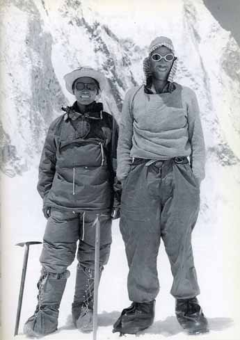 Tenzing Norgay and Edmund Hillary pose for an official portrait after returning from their first ascent of Mount Everest - Alfred Gregory's Everest book