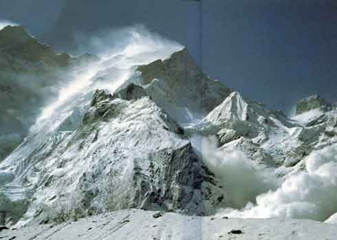 Avalanche pours down from Fang after a flal of snow on Annapurna Northwest Face Ridge - All Fourteen 8000ers (Reinhold Messner) book