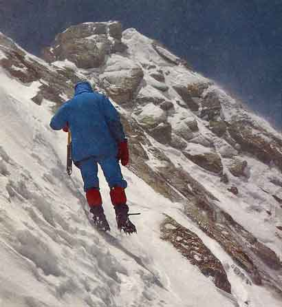 Hans Kammerlander a few steps from the top of Dhaulagiri May 15, 1985 - All Fourteen 8000ers (Reinhold Messner) book
