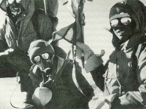 Chewang, Irene Beardsley Miller, and Minga on Annapurna summit October 15 1978. Vera Komarkova is reflected in Mingma's sunglasses - Annapurna: A Woman's Place book