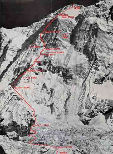 Annapurna South Face showing route of first ascent in 1970 - Annapurna South Face book