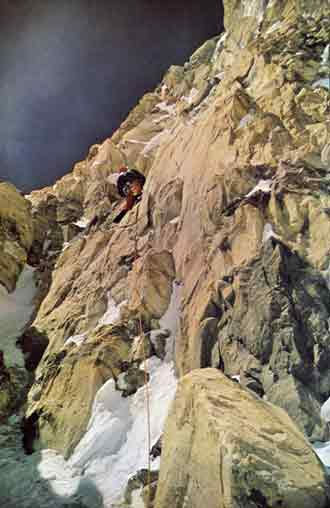 Mick Burke climbing the rock band on Annapurna South Face in 1970 - Annapurna South Face book