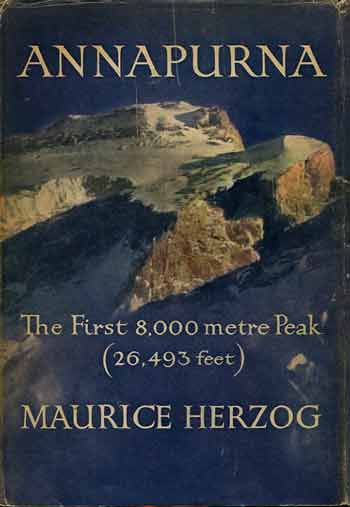 Annapurna North Face At Sunset - Annapurna by Maurice Herzog British book cover