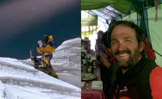 Juanito Oiarzbal Holding Maurice Herzog Message On Annapurna Summit April 29, 1999 And Celebrating At Base Camp - Ascension Al Annapurna Al Filo De Lo Imposible DVD -