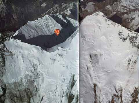 Balloon floats over the South Col with Lhotse East Face, Nuptse, and Everest Kangshung East Face - Ballooning Over Everest book