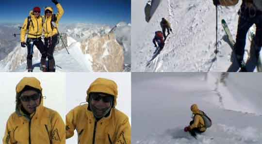 Benedikt Bohm and Sebastian Haag On Gasherbrum II Summit July 29 And Again On August 4, 2006, Ski Descent From Summit - Best Of EOFT 3 DVD - Gasherbrum II