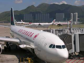 Air Canada Plane At Hong Kong Airport