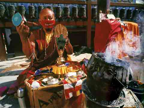 Monk Reciting Mantras At Boudhanath Kathmandu Nepal - Buddhism: Eight Steps To Happiness by Dieter Glogowski book