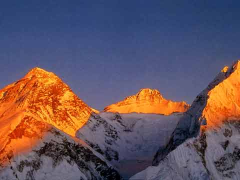 Everest North and Southwest Faces, Lhotse and Nuptse at sunset - Climbing The Worlds 14 Highest Mountains book