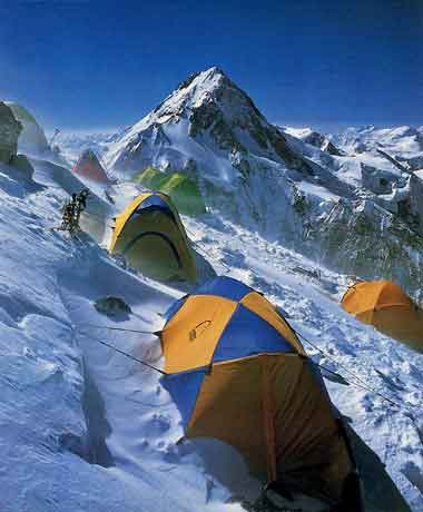 High Camp on the south-east shoulder of Gasherbrum II with view to Gasherbrum I - Climbing the World's 14 Highest Mountains: The History Of The 8000-Meter Peaks book