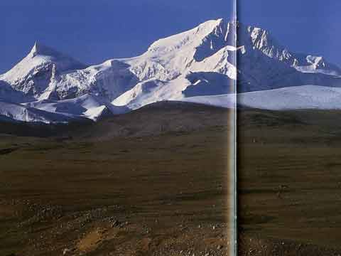 Phola Gangchen and Shishapangma from the north - Climbing The Worlds 14 Highest Mountains book