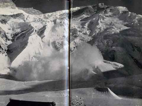 Avalanche on Annapurna North Face between Camps 2 and 3, 1950 - Conquistadors of the Useless book