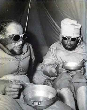 Louis Lachenal and Lionel Terray after their harrowing Annapurna North Face descent 1950 - Conquistadors of the Useless book