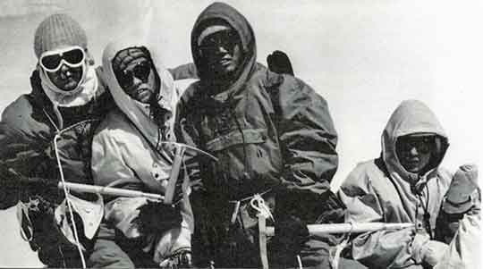 Dhaulagiri First Ascent - Kurt Diemberger, Albin Schelbert, Ngawang Dorje and Nima Dorje On Dhaulagiri Summit May 13, 1960