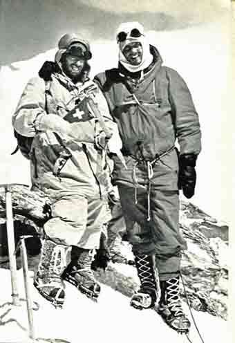 Dhaulagiri First Ascent - Peter Diener and Ernst Forrer on Dhaulagiri summit May 13, 1960