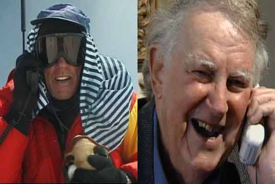 Peter Hillary talks to his Dad Sir Edmund Hillary from the Everest Summit May 25, 2002 - Everest 50 Years on the Mountain (National Geographic) DVD