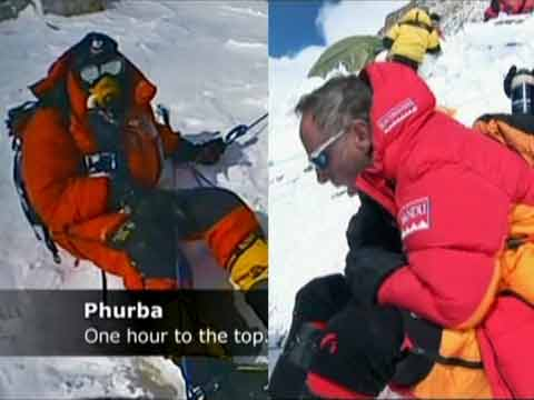 Left: Tim Medvetz stops his ascent just one hour from the Everest summit. Right: Mark Inglis on his descent after becoming the first double amputee to summit Mount Everest - Everest: Beyond the Limit Season 1 (Discovery Channel) DVD