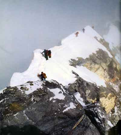 Scott Fischer Photo Of Climbers Descending From Everest Hillary Step May 10, 1996 At 4pm - Everest Mountain Without Mercy book