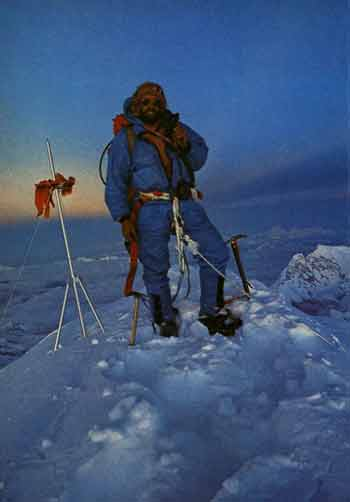 Everest First Ascent Southwest Face - Doug Scott on Everest summit September 24, 1975 - Everest The Hard Way book