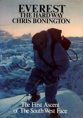 Everest First Ascent Southwest Face - Dougal Haston on Everest summit September 24, 1975 - Everest The Hard Way book cover