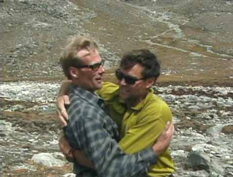 Conrad Anker and Alex Lowe hug at Shishapangma Southwest base Camp - Shishapangma (and Himalaya): North Face Expeditions Volume 3 DVD