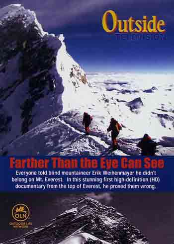 Erik Weihenmayer in the middle crossing the Everest summit ridge from the South Summit to the Hillary Step May 25, 2001 - Farther Than The Eye Can See DVD cover