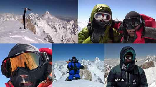 Ice Axe on Gasherbrum II Summit July 11 2010 With Broad Peak And K2, Pemba Sherpa, Thomas Grenier, Ludo Challeat, Christian Maurel, Marc Dreyer On Gasherbrum II Summit July 11, 2010 - Gasherbrum 2 Video By Ludo Challeat