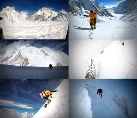 UL: Military Helicopter Passes K2 And Broad Peak. UR: Denis Urubko On Gasherbrum Glacier. ML: Denis Urubko On Gasherbrum Glacier with Gasherbrum II Ahead. MR: Denis Urubko Climbing To Camp II. LL: Denis Urubko Climbing To Camp III. LR: Denis Urubko Leads Last Few Steps To Summit With Simone Moro Below on February 2, 2011. - Gasherbrum II Corey Richards Video