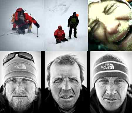 UL: Simone Moro Leading In Deep Snow. UC: Simone Moro and Denis Urubko after the avalanche. UR: A distraught Cory Richards After The Avalanche. Lower: Portrait Of Cory Richards, Simone Moro And Denis Urubko After Gasherbrum II First Winter Ascent. - Gasherbrum II Cory Richards Video