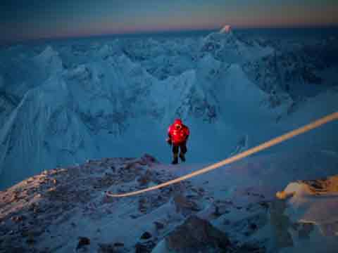 Simone Moro Reaches First Sun At 7600m On Gasherbrum II On February 2, 2011 - Gasherbrum II Cory Richards Video