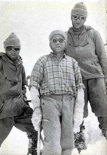 Gasherbrum II First Ascent - Sepp larch, Fritz Moravec, and Hans Willenpart back in Camp 2 after the first ascent of Gasherbrum II on July 7, 1956