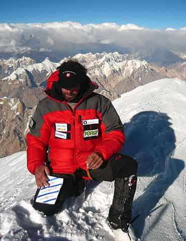 Gasherbrum II First Ascent North Face - Karl Unterkircher On Gasherbrum II Summit July 20, 2007 - karlunterkircher.com
