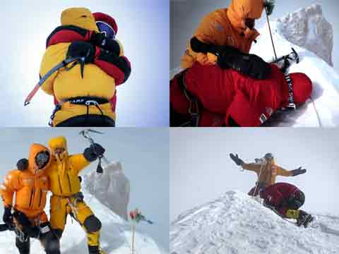 Gasherbrum II First Winter Ascent - Denis Urubko Hugs Simone Moro, Cory Richards And Denis Celebrate, Cory And Simone On Gasherbrum II Summit February 2, 2011 - Cory Richards Video