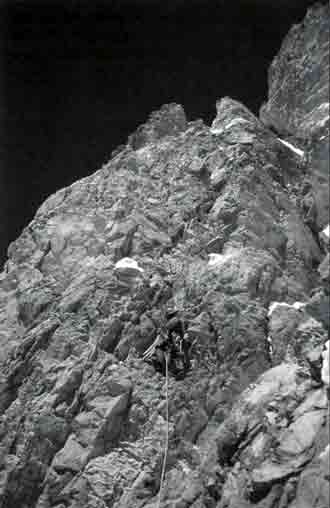 Gasherbrum IV First Ascent West Face Central Spur - Yoo Huk-jae Climbing Above Camp III - American Alpine Journal 1998