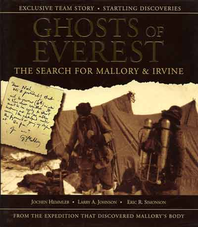The last photo of George Mallory and Sandy Irvine as they leave the Everest North Col on June 6, 1924 - Ghosts Of Everest book cover