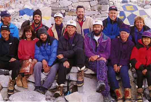 Adventure Consultants 1996 Everest Expedition: Standing: John Taske, Stuart Hutchison, Helen Wilton, Beck Weathers, Lou Kasischke, Michael Groom. Seated: Doug Hansen, Susan Allen, Jon Krakauer, Andy Harris, Rob Hall, Frank Fischbeck, Yasuko Namba. - Hall and Ball book