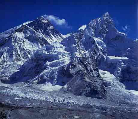Everest, Lhotse, Nuptse and the Khumbu Glacier from Kala Pattar - Heart Of The Himalaya Everest book