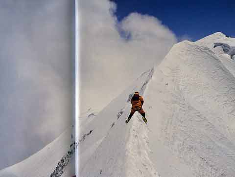 Veikka Gustafsson on the knife-edge ridge to Shishapangma Main Summit April 30, 2001 - Himalayan Quest Ed Viesturs on the 8,000-Meter Giants book
